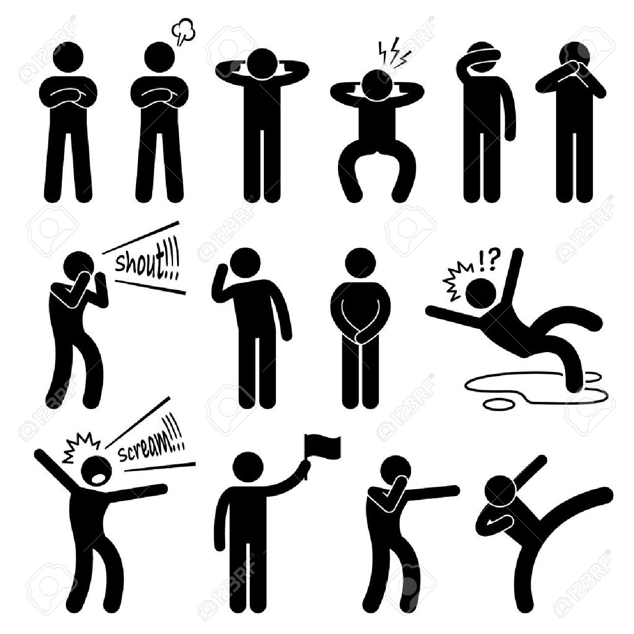 Human Action Poses Postures Stick Figure Pictogram Icons - 35490403