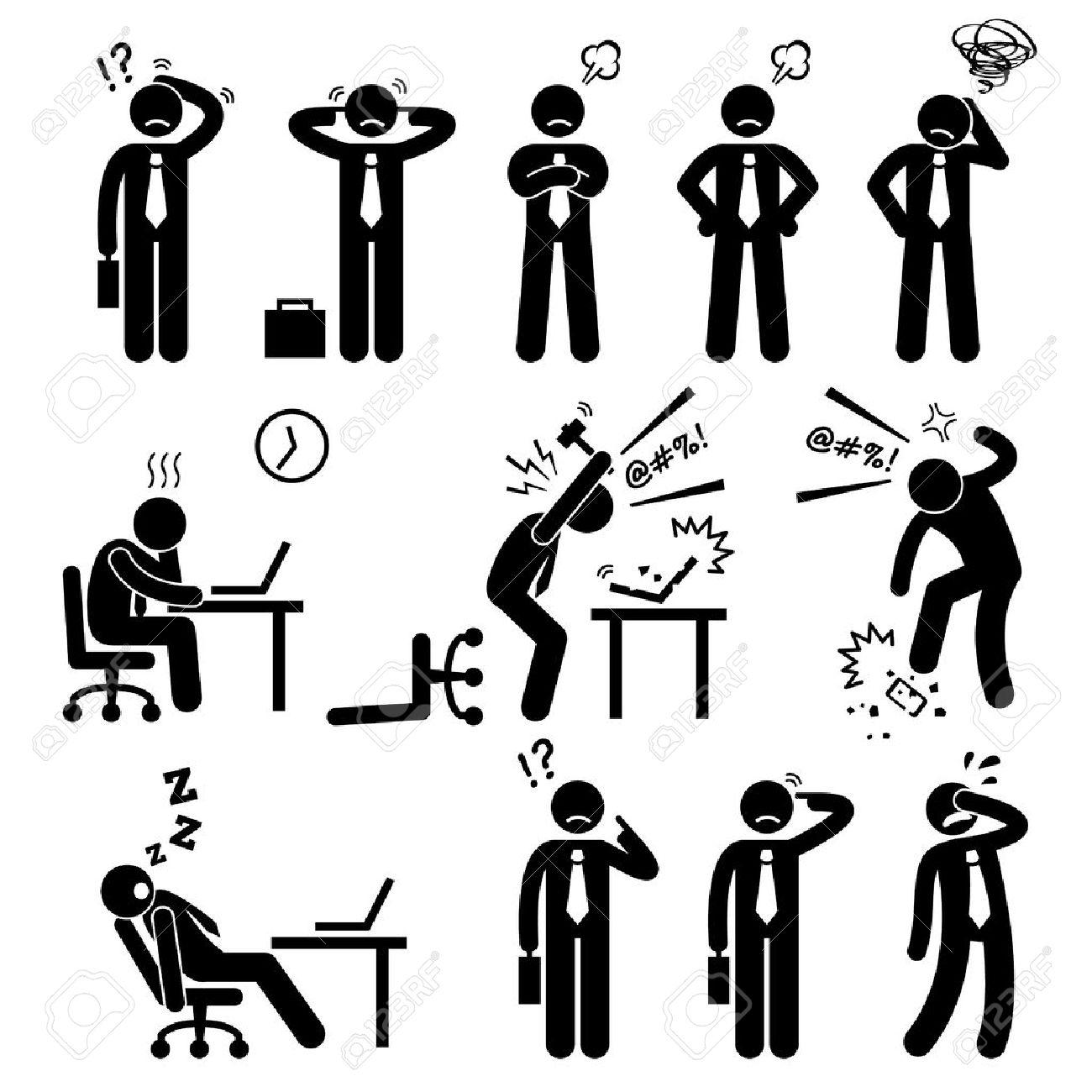 Businessman Business Man Stress Pressure Workplace Stick Figure Pictogram Icon - 38116502