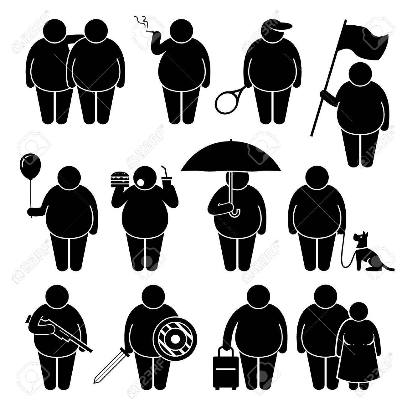 Hombre gordo que sostiene con objetos diversos Stick Figure Pictograma Iconos Foto de archivo - 38625242
