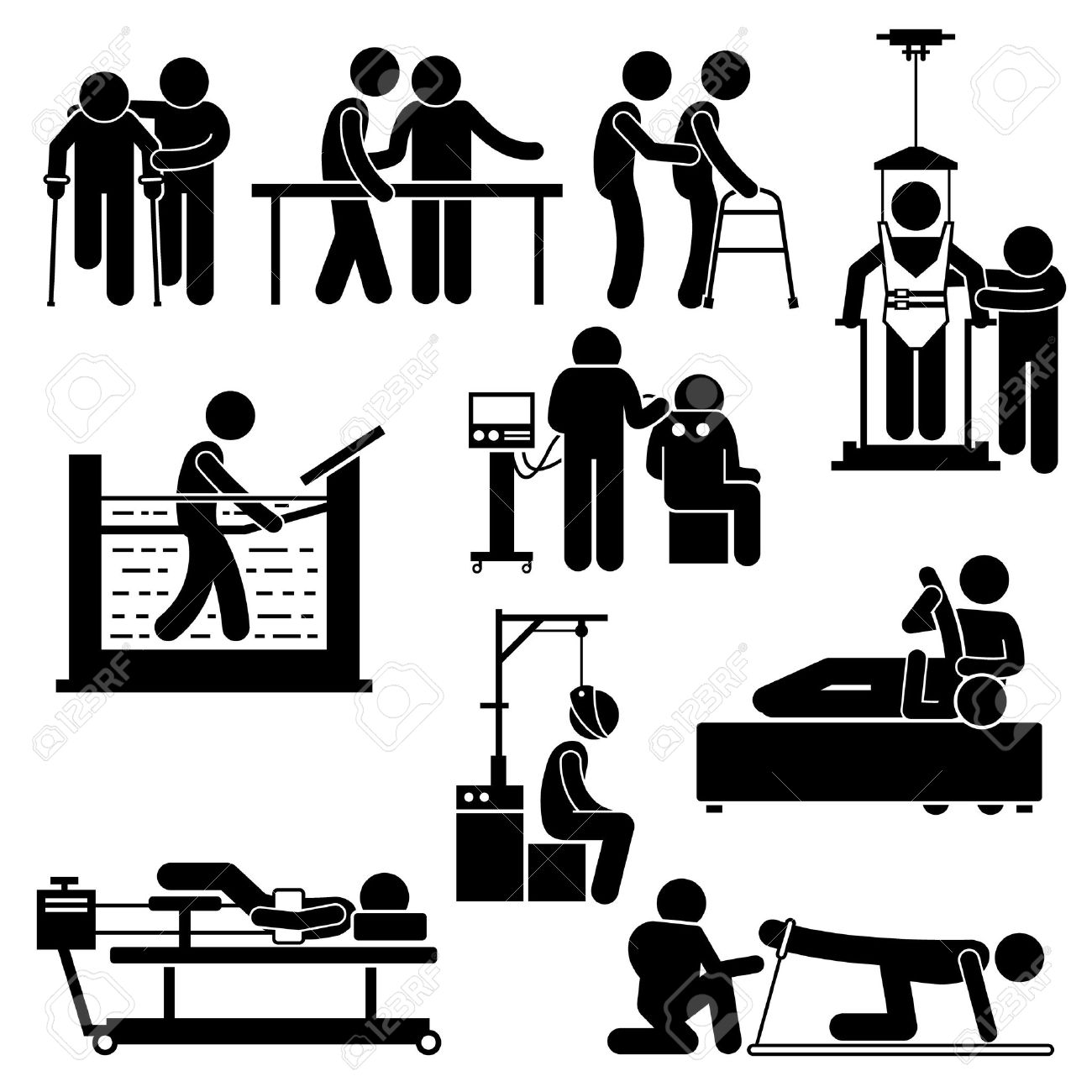 Physio Physiotherapy and Rehabilitation Treatment Stick Figure Pictogram Icons - 41856388