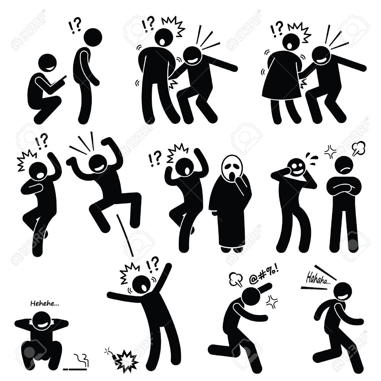 funny people prank playful actions stick figure pictogram icons royalty  free cliparts, vectors, and stock illustration. image 43061962.  123rf