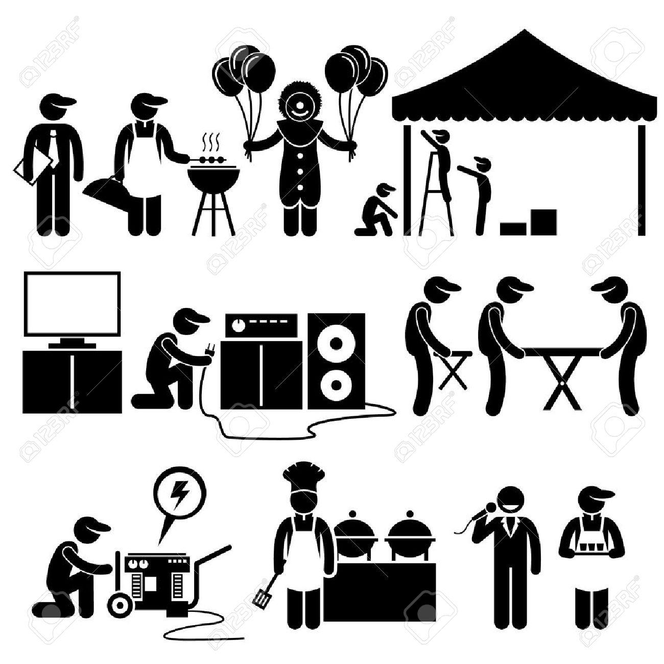 お祝いパーティー祭イベント サービス ・ スティック図ピクトグラム