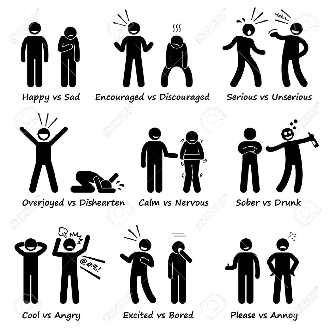 Opposite Feeling Emotions Positive vs Negative Actions Stick Figure Pictogram Icons - 44486630