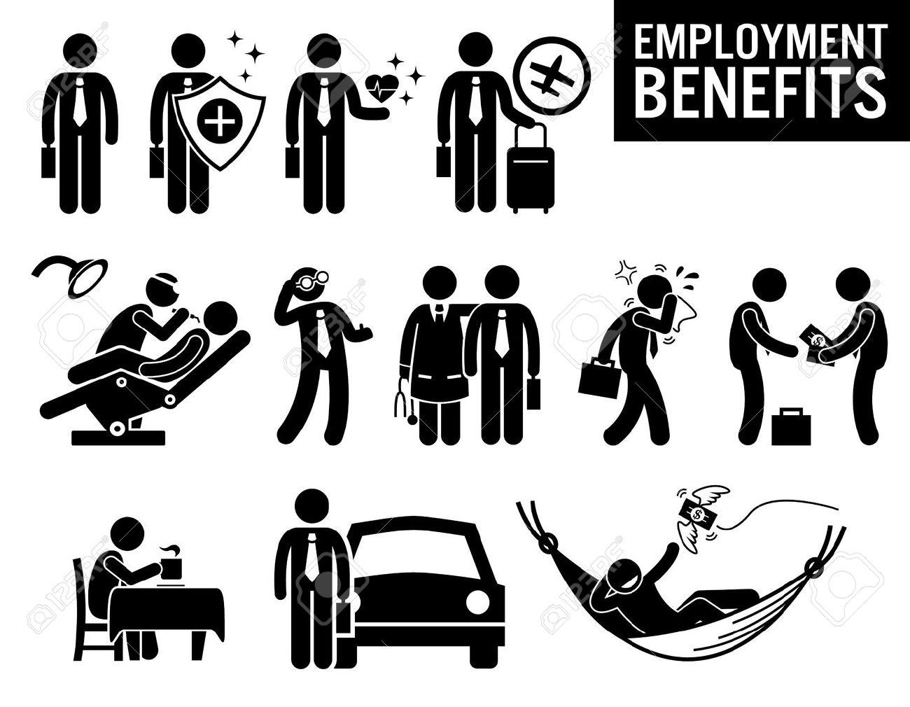 Arbeiter Beschäftigung Job Benefits Strichmännchen-Piktogramm Icons ...