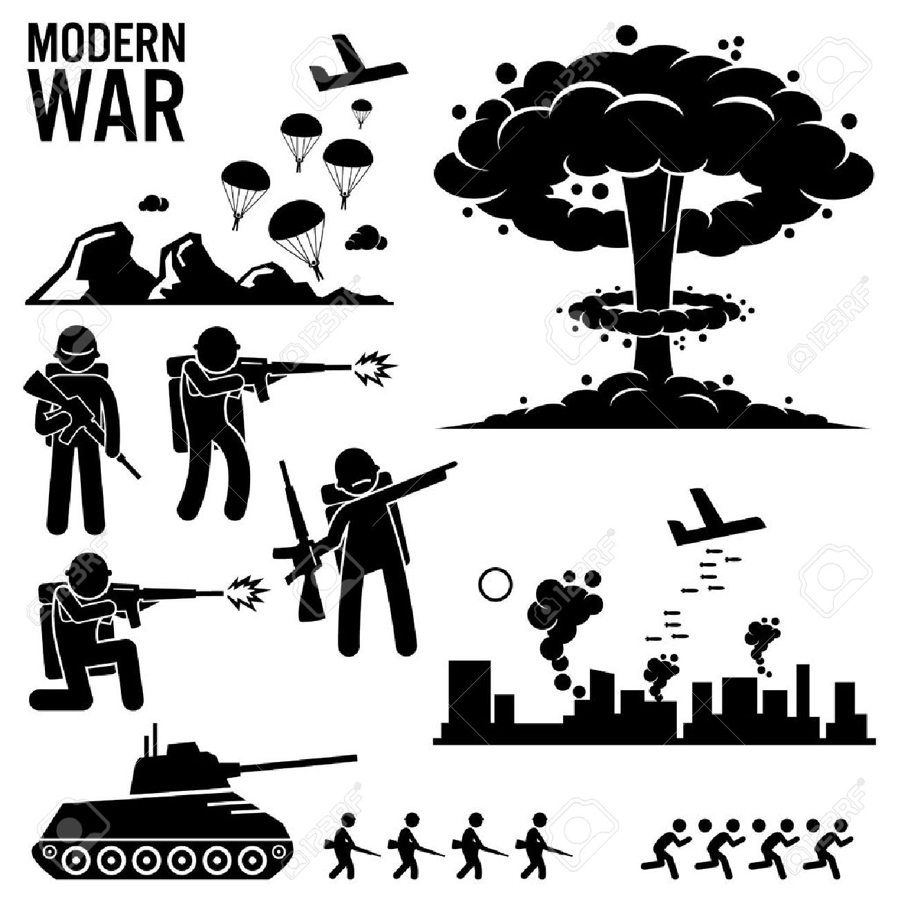 War Modern Warfare Nuclear Bomb Soldier Tank Attack Stick Figure Pictogram Icons - 48512338