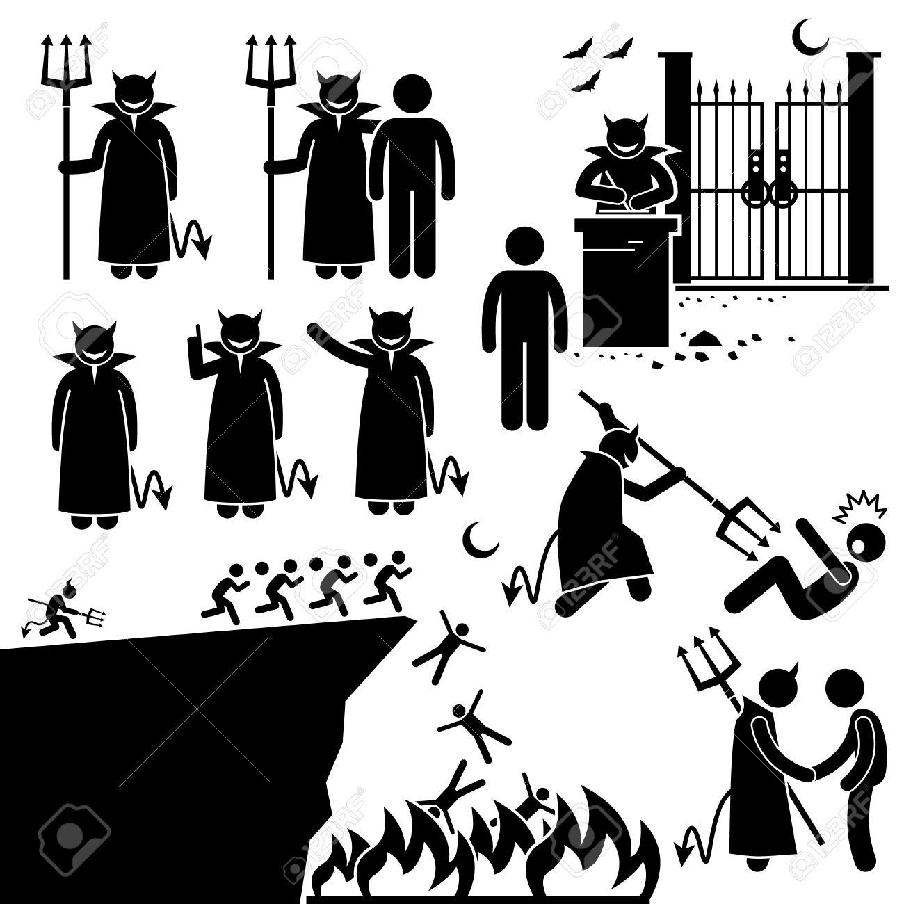Diablo Demonio Satanás Infierno Underworld Figura Stick Pictograma ...