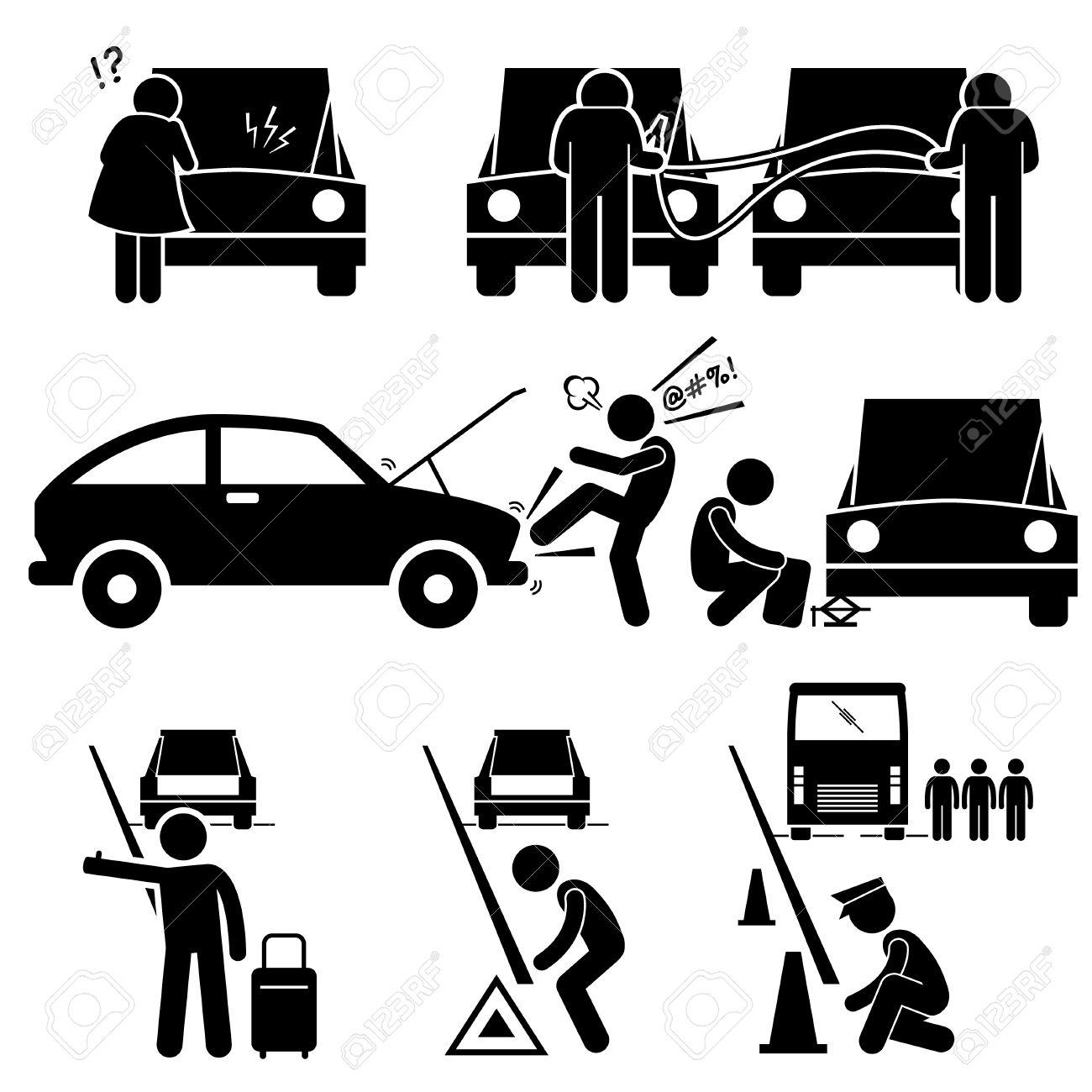 Brach Eine Autopanne Befestigung Unten Reparatur Am Straßenrand ...