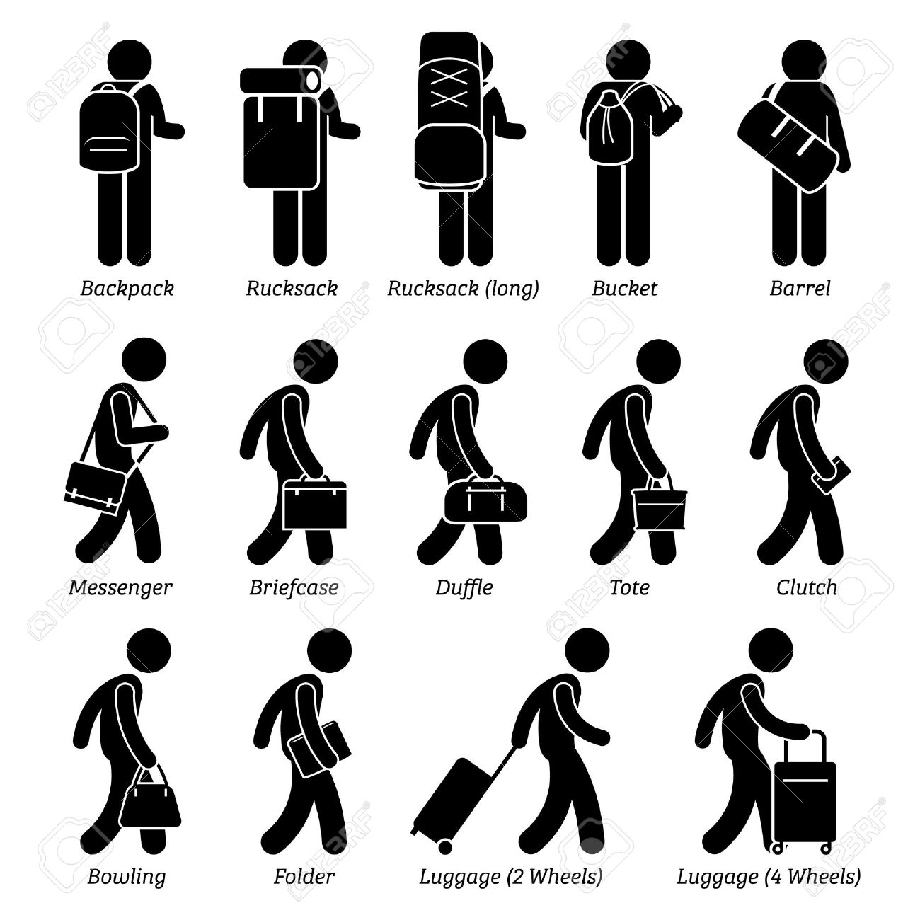 Man Male Bags and Luggage Stick Figure Pictogram Icons - 50581400
