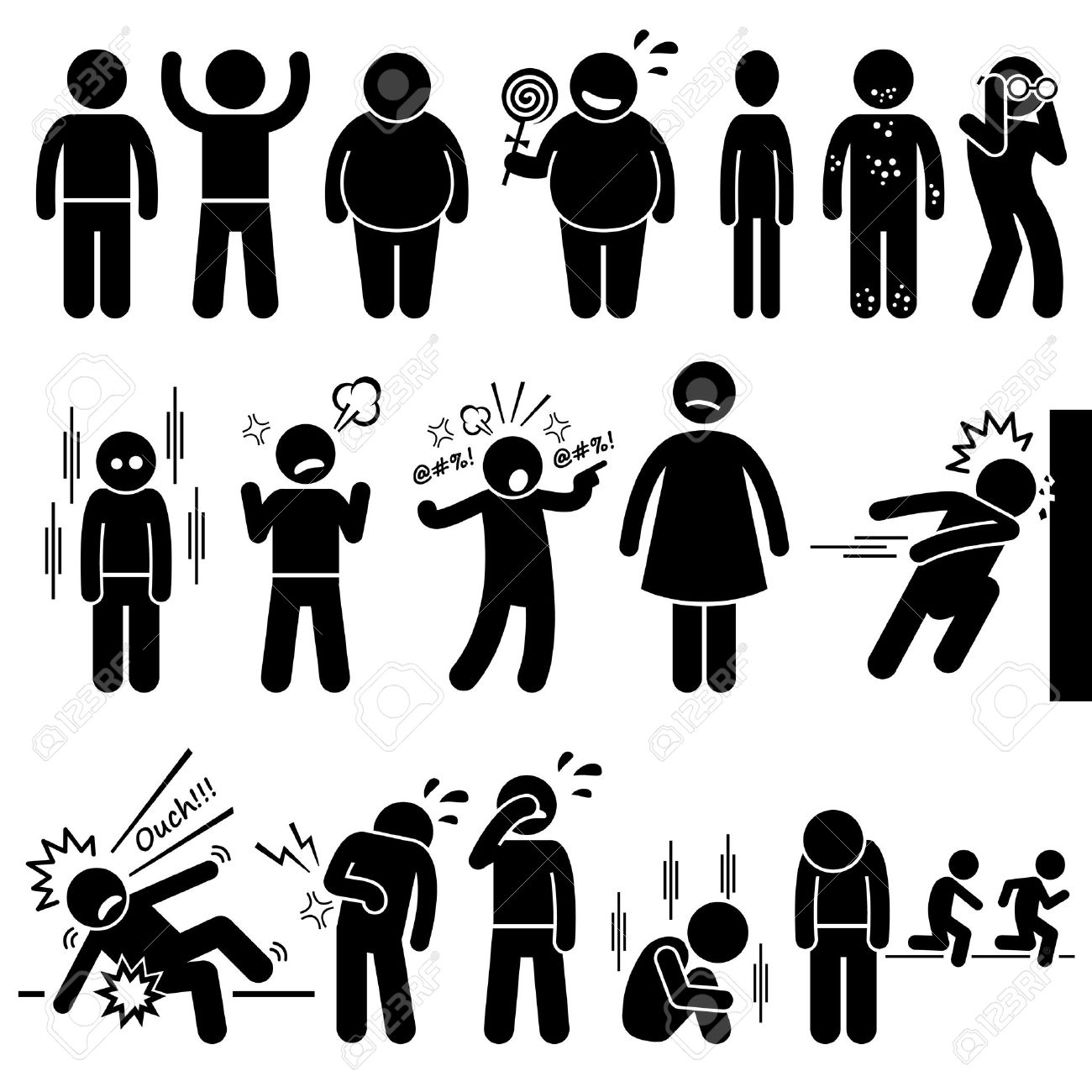 Children Health Physical and Mental Problem Syndrome Stick Figure Pictogram Icons - 52340741