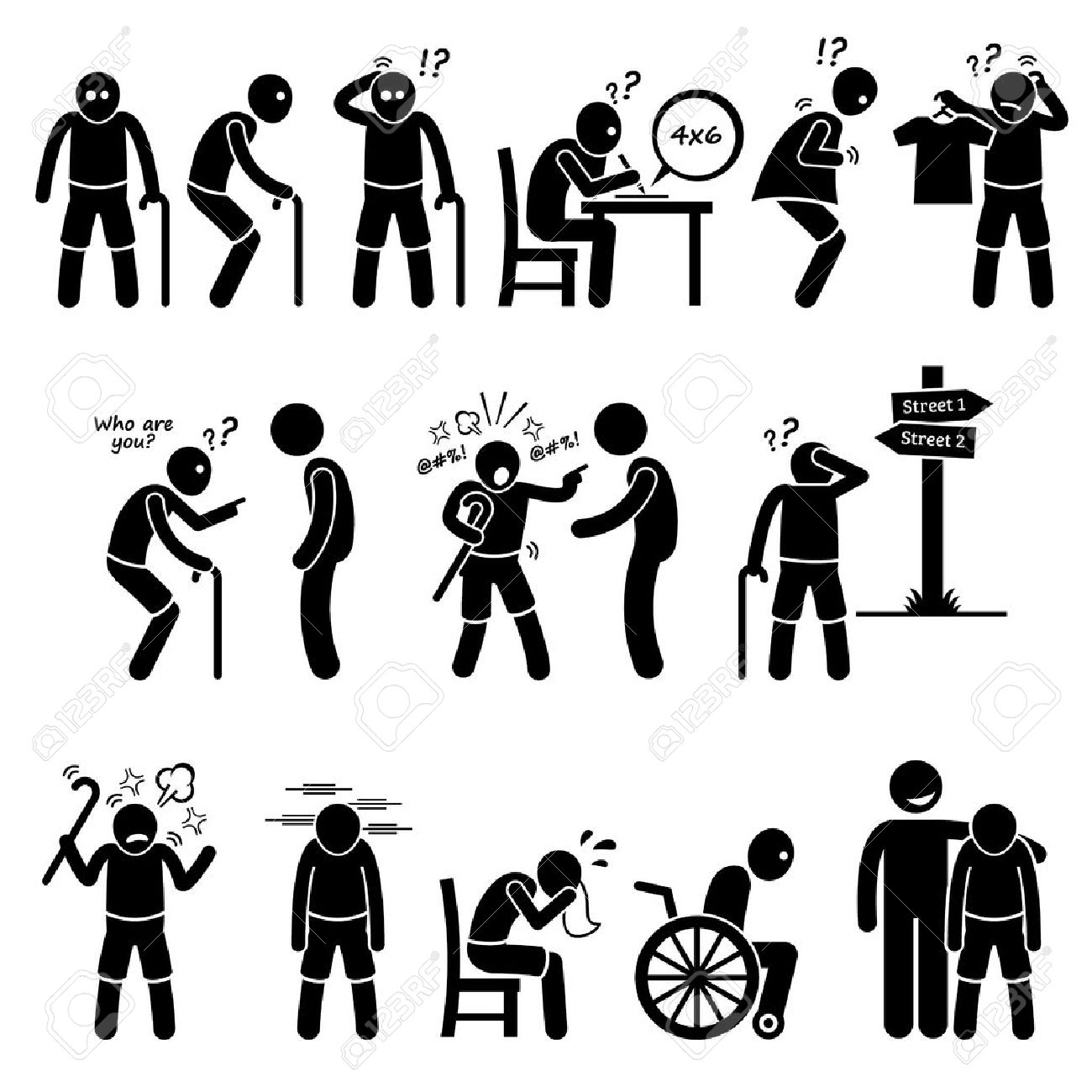 Alzheimer and Dementia Elderly Old Man Stick Figure Pictogram Icons - 52340746