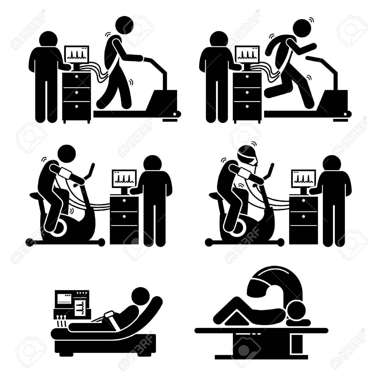 Exercise Stress Test for Heart Disease Stick Figure Pictogram Icons - 52340750