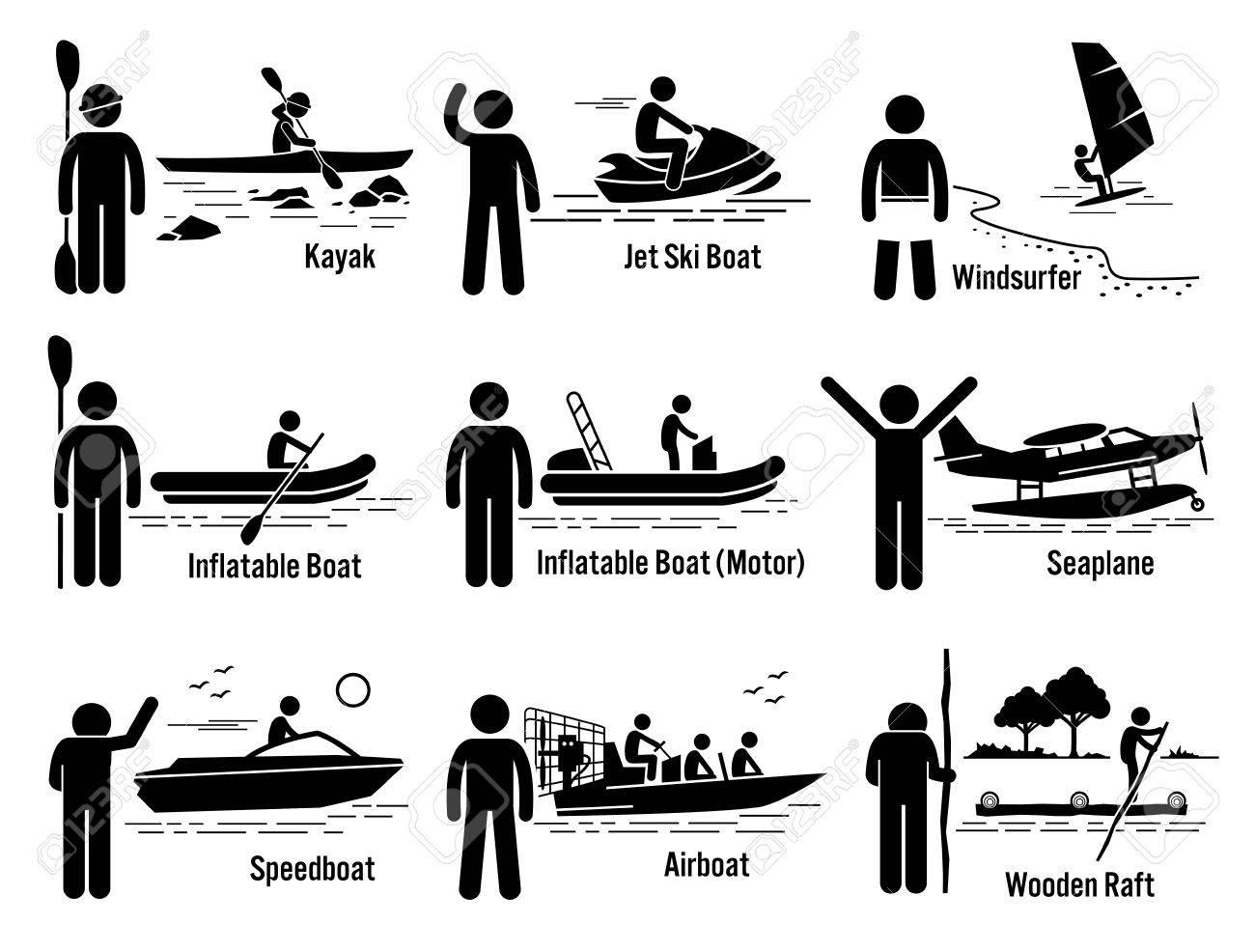 Mer D Eau Vehicules Recreatifs Et Populaire Set Kayak Jet Ski Planche A Voile Bateau Gonflable Motonautisme Hydravions Speedboat Hydroglisseur Et Radeau Clip Art Libres De Droits Vecteurs Et Illustration Image 52400061