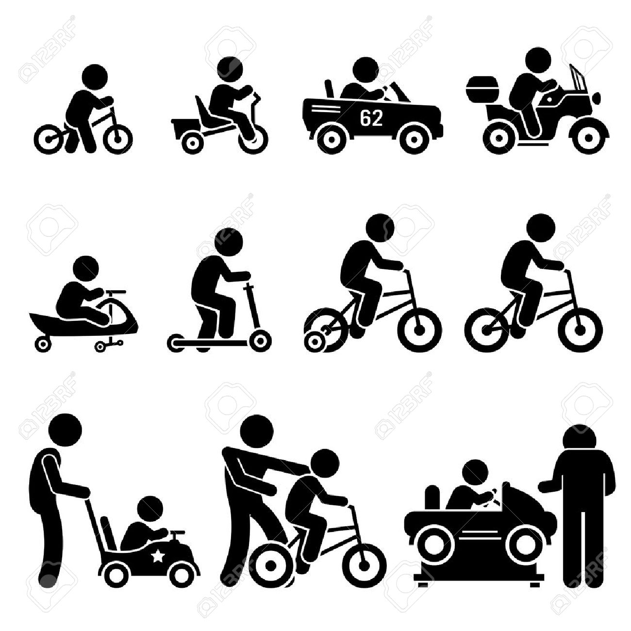 Small Children Riding Toy Vehicles and Bicycle Stick Figure Pictogram Icons - 53802602