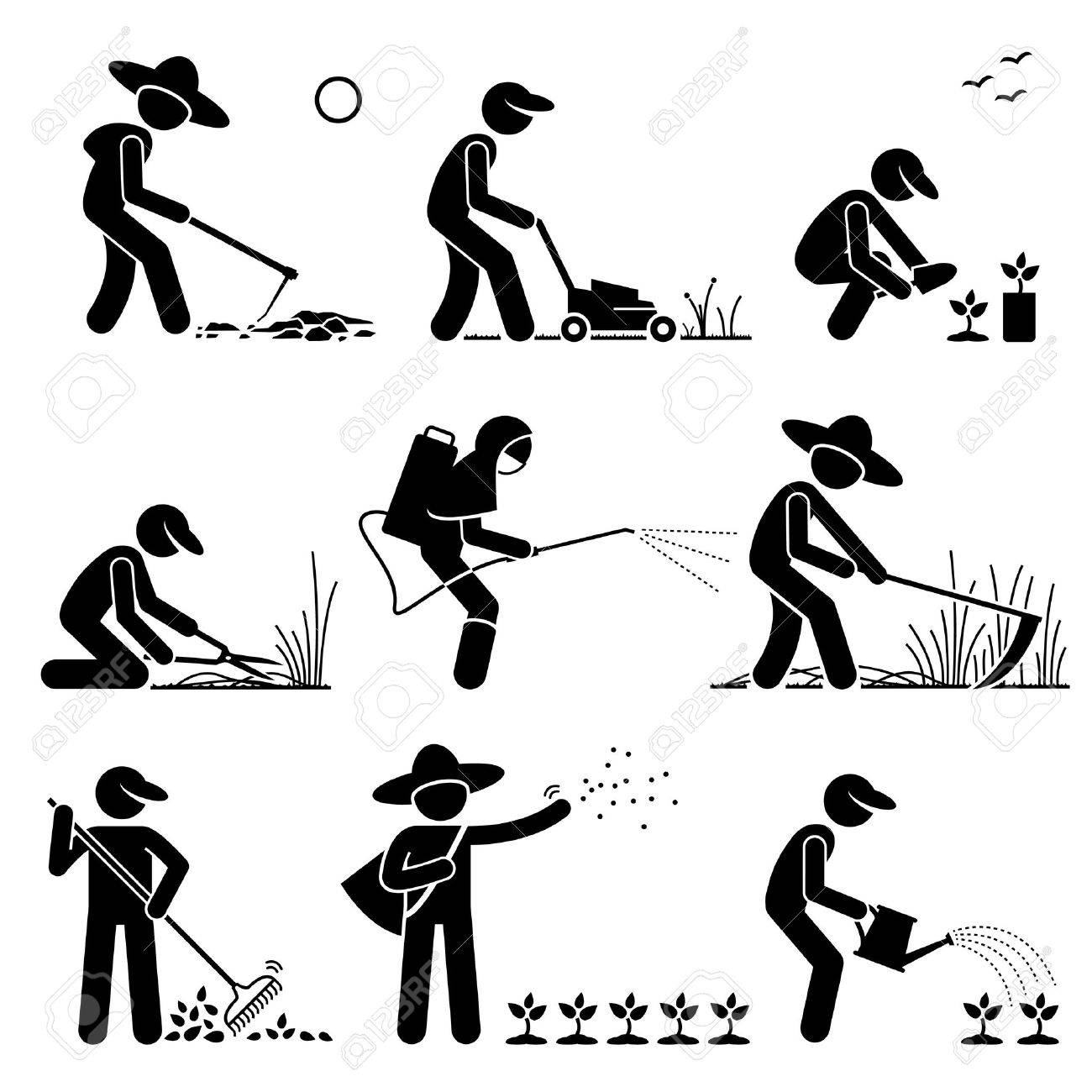 Gardener and Farmer using Gardening Tools and Equipment for Work - 53802606