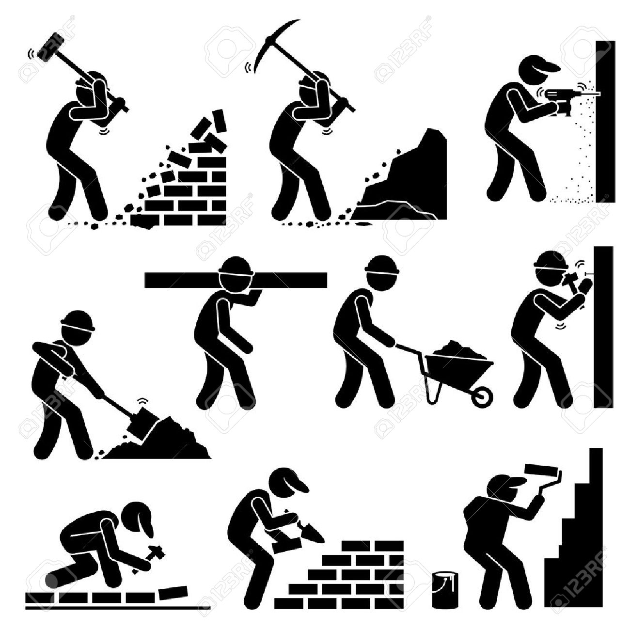 Builders Constructors Workers Building Houses with Tools and Equipment at Construction Site - 53802611