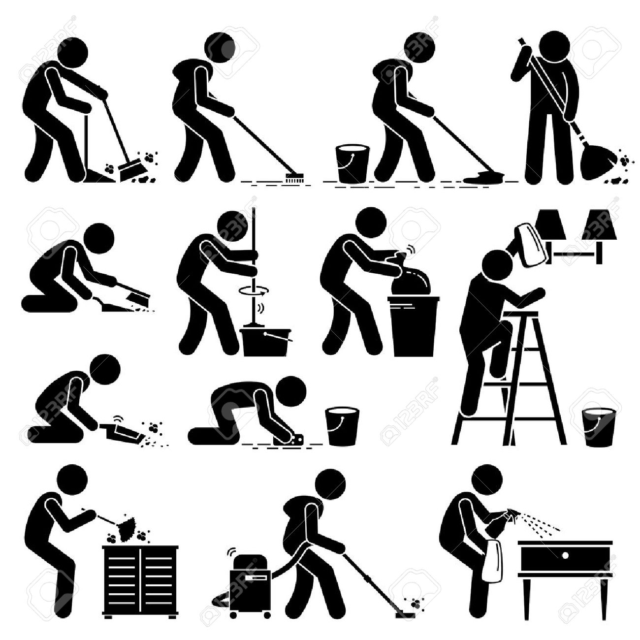 Cleaner Cleaning and Washing House Pictogram - 53802613