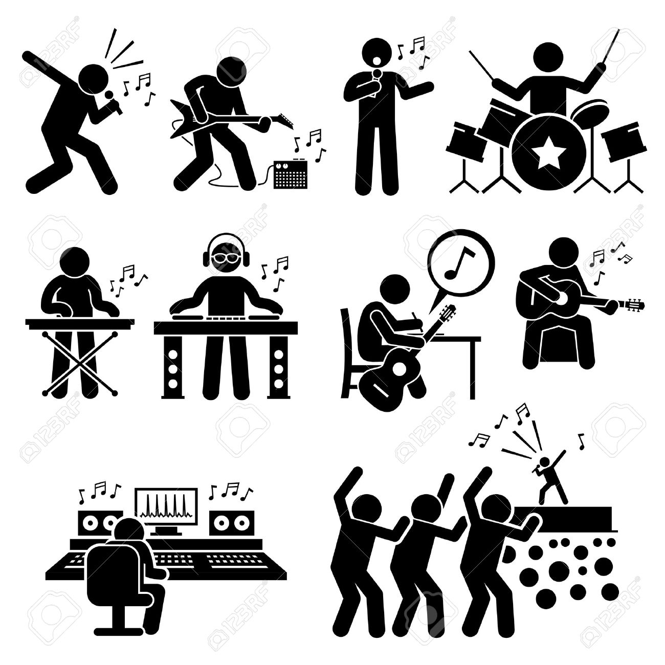 Rock Star Musician Music Artist with Musical Instruments Stick Figure Pictogram Icons - 55079162