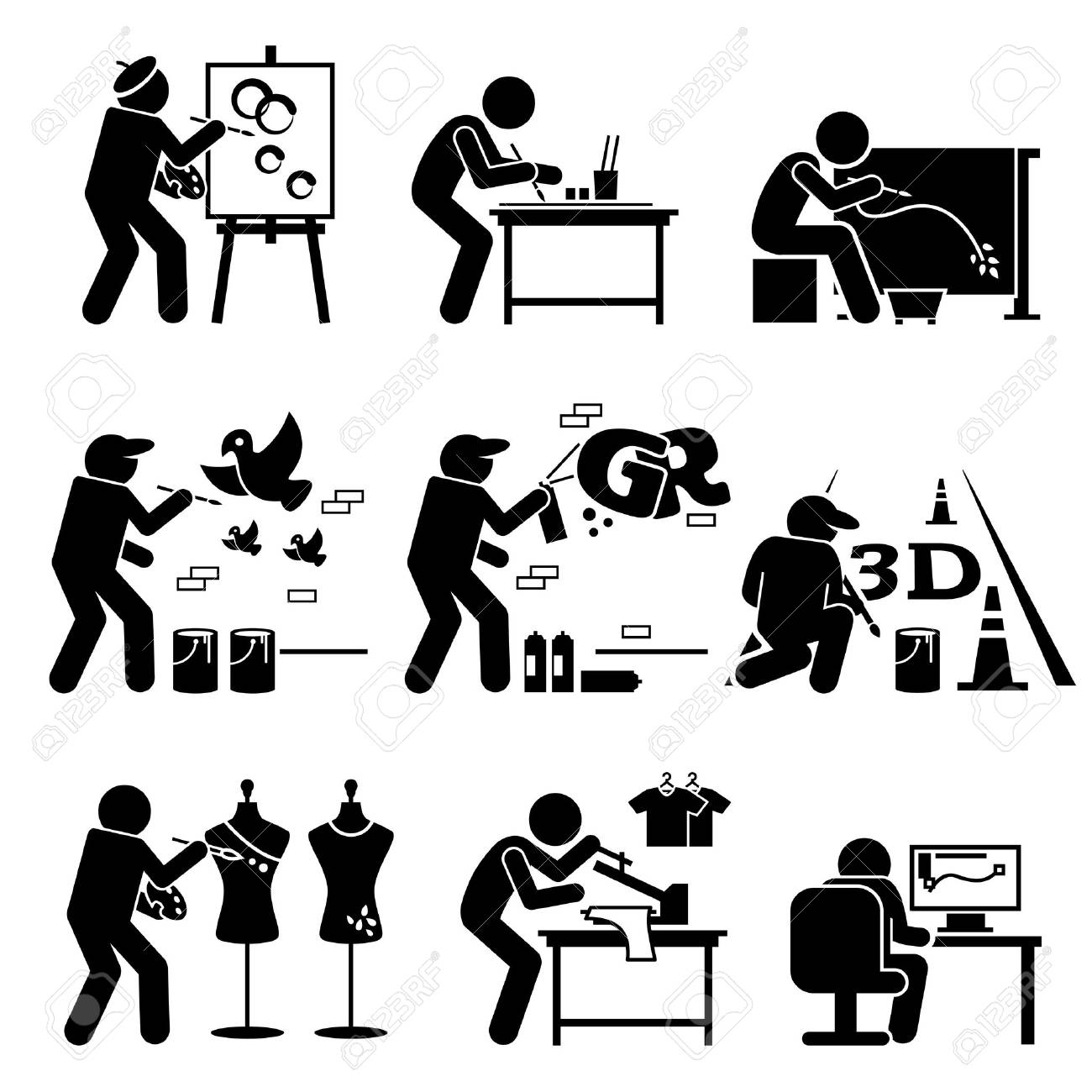 painter street artist graphic designer drawing arts stick figure rh 123rf com Stick Girl stick people art with sticks