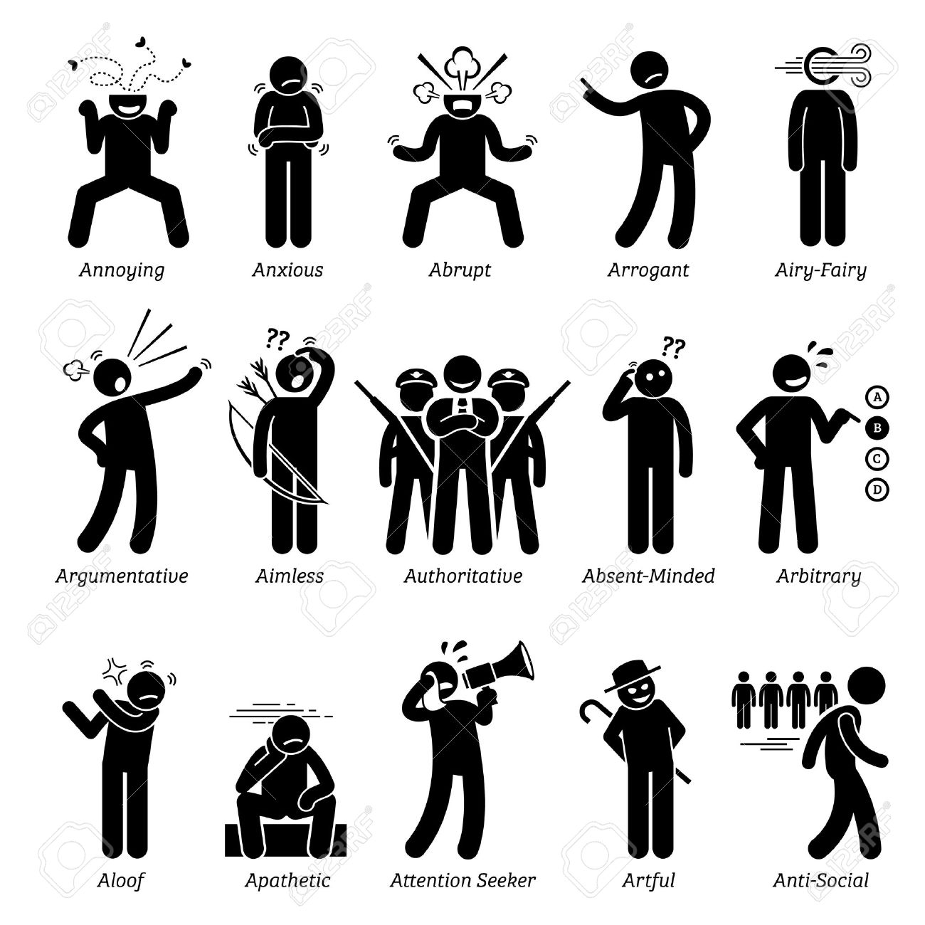 Negative Bad Personalities Character Traits. Stick Figures Man Icons. Starting with the Alphabet A. - 56757279