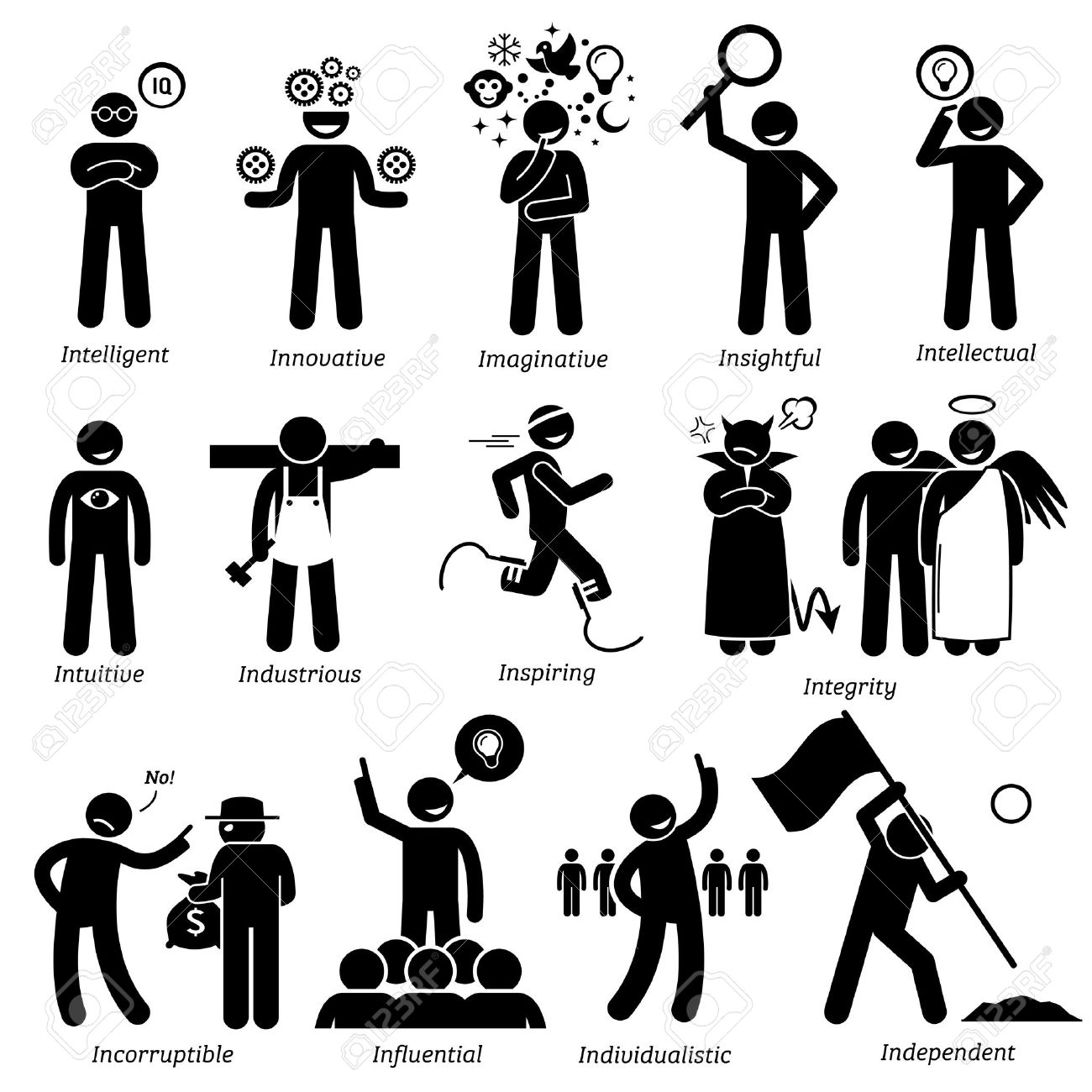 Positive Personalities Character Traits  Stick Figures Man Icons