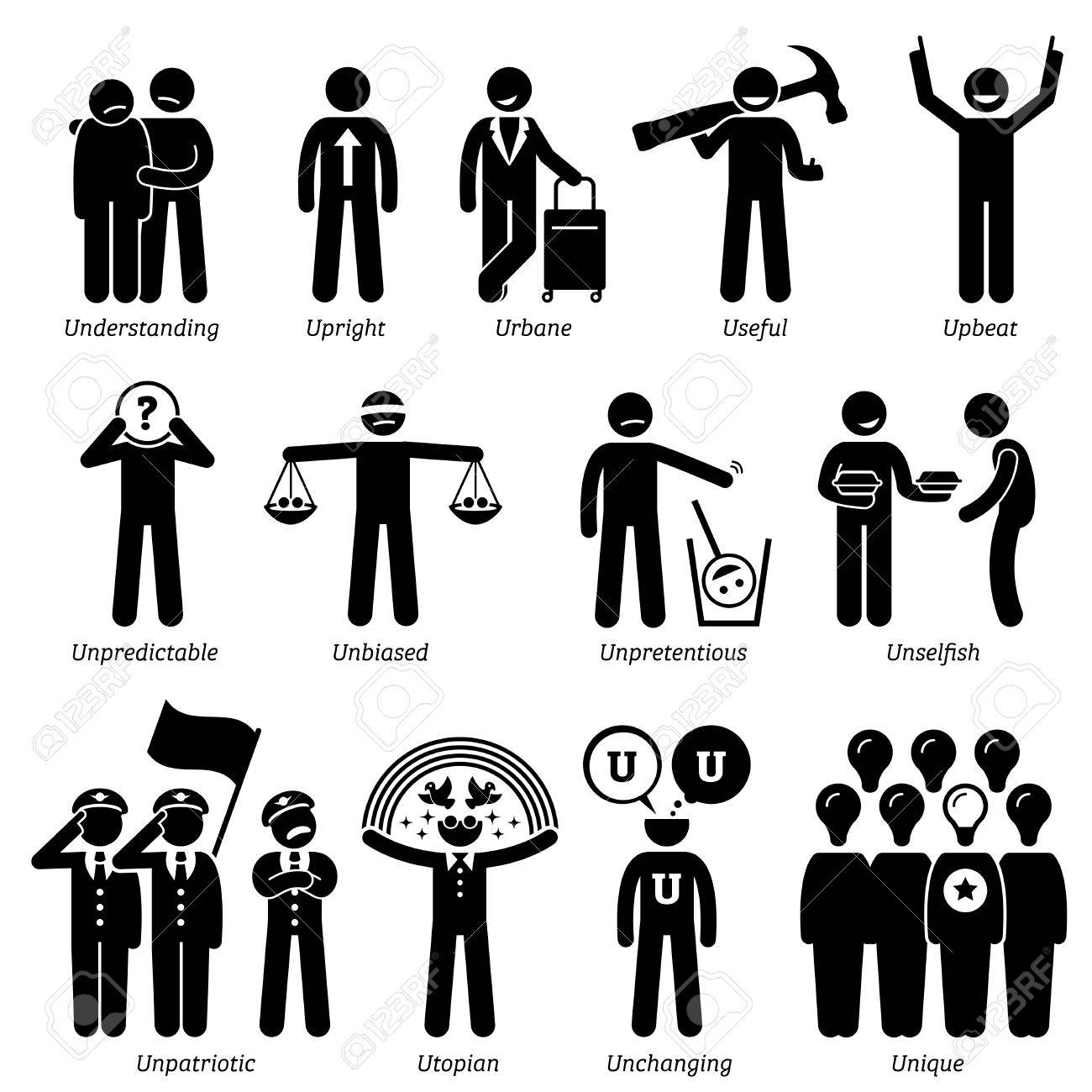 Positive Neutral Personalities Character Traits. Stick Figures Man Icons.  Starting With The Alphabet U  Positive Character Traits