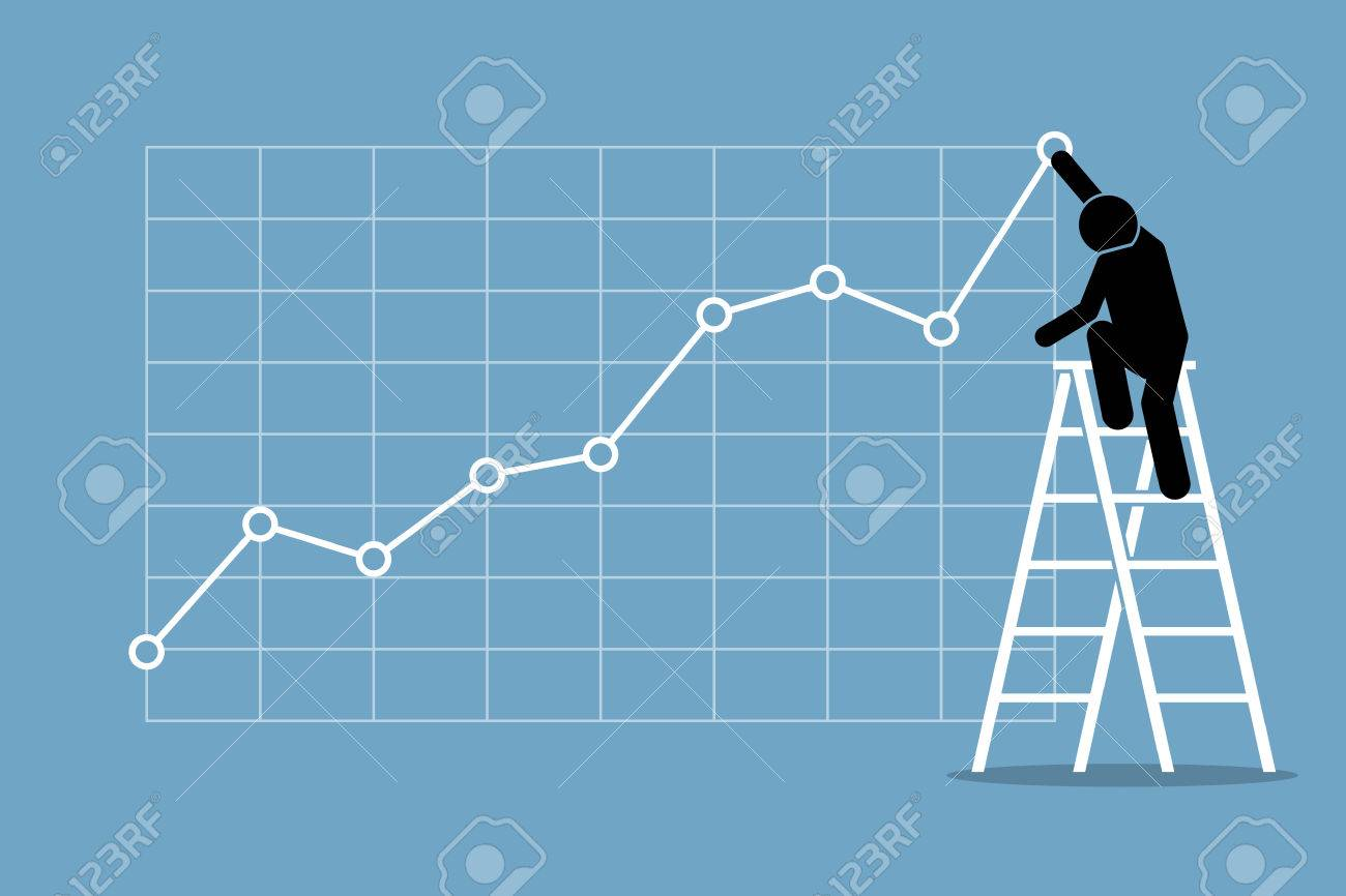 Businessman climbing up on a ladder to adjust an uptrend graph chart on a wall. Vector artwork depicts financial success, bullish stock market, good sales, profit, and growth. - 63443169
