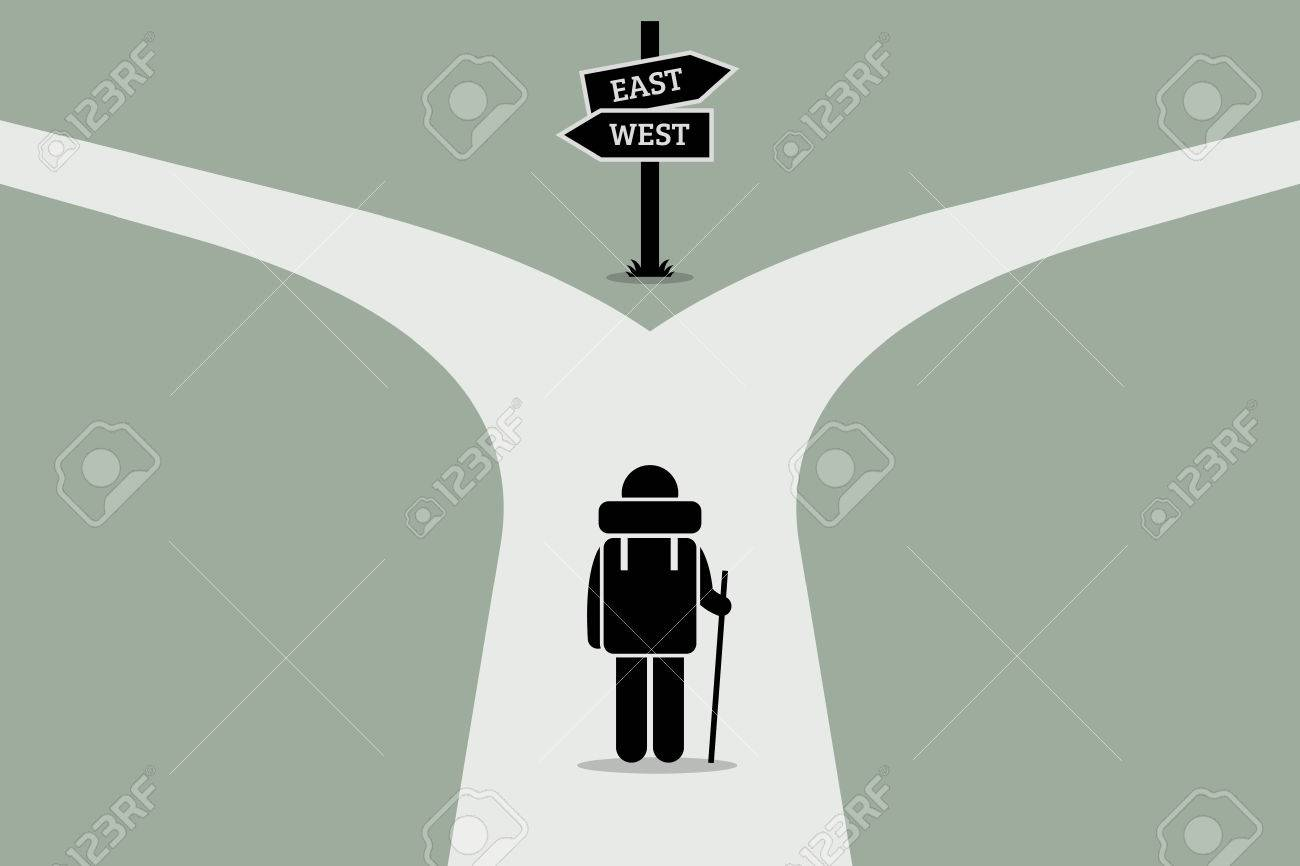 Explorer reaching a split road trying to make decision on where to go next. Road sign showing different directions. Vector artwork depicts junction of life, decision making, and uncertain future. - 63443172