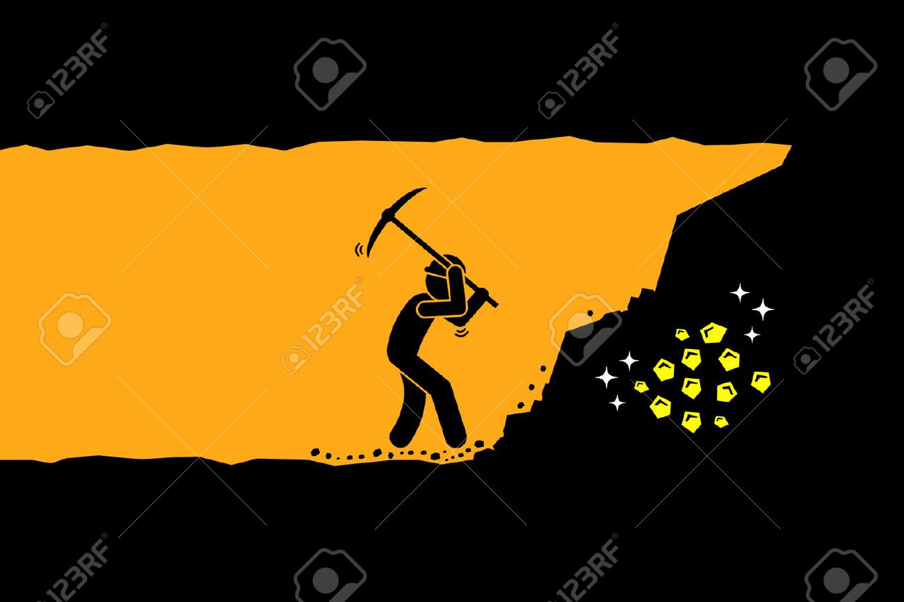 Person worker digging and mining for gold in an underground tunnel. Vector artwork depicts hard work, success, achievement, and discovery. - 63443178