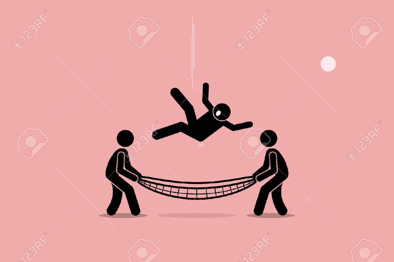 Man falling down and saved by people using safety net at the bottom of the ground. Vector artwork depicts safety, security, insurance, friendship, help, and support. - 63443469