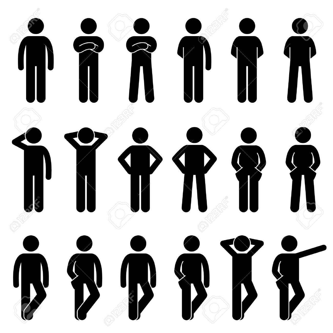 Various Basic Standing Human Man People Body Languages Poses Postures Stick Figure Stickman Pictogram Icons Set - 65860939
