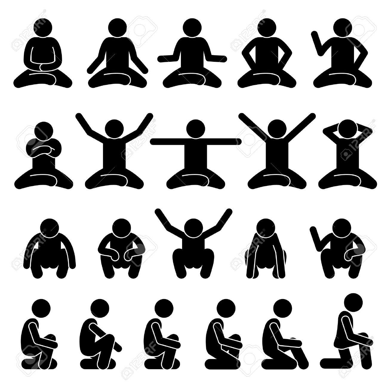 人間の男人座っていると床にしゃがむポーズ ポーズ スティック図棒人間絵文字アイコンのイラスト素材 ベクタ Image