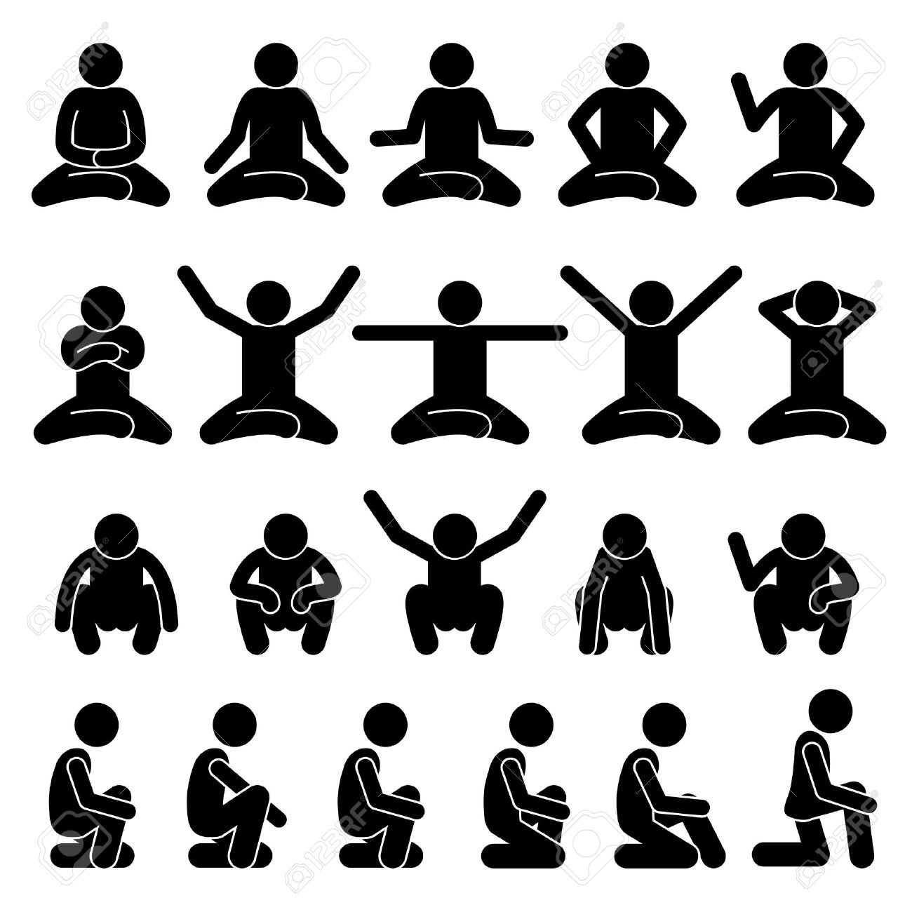 Human Man People Sitting and Squatting on the Floor Poses Postures Stick Figure Stickman Pictogram Icons - 65827012