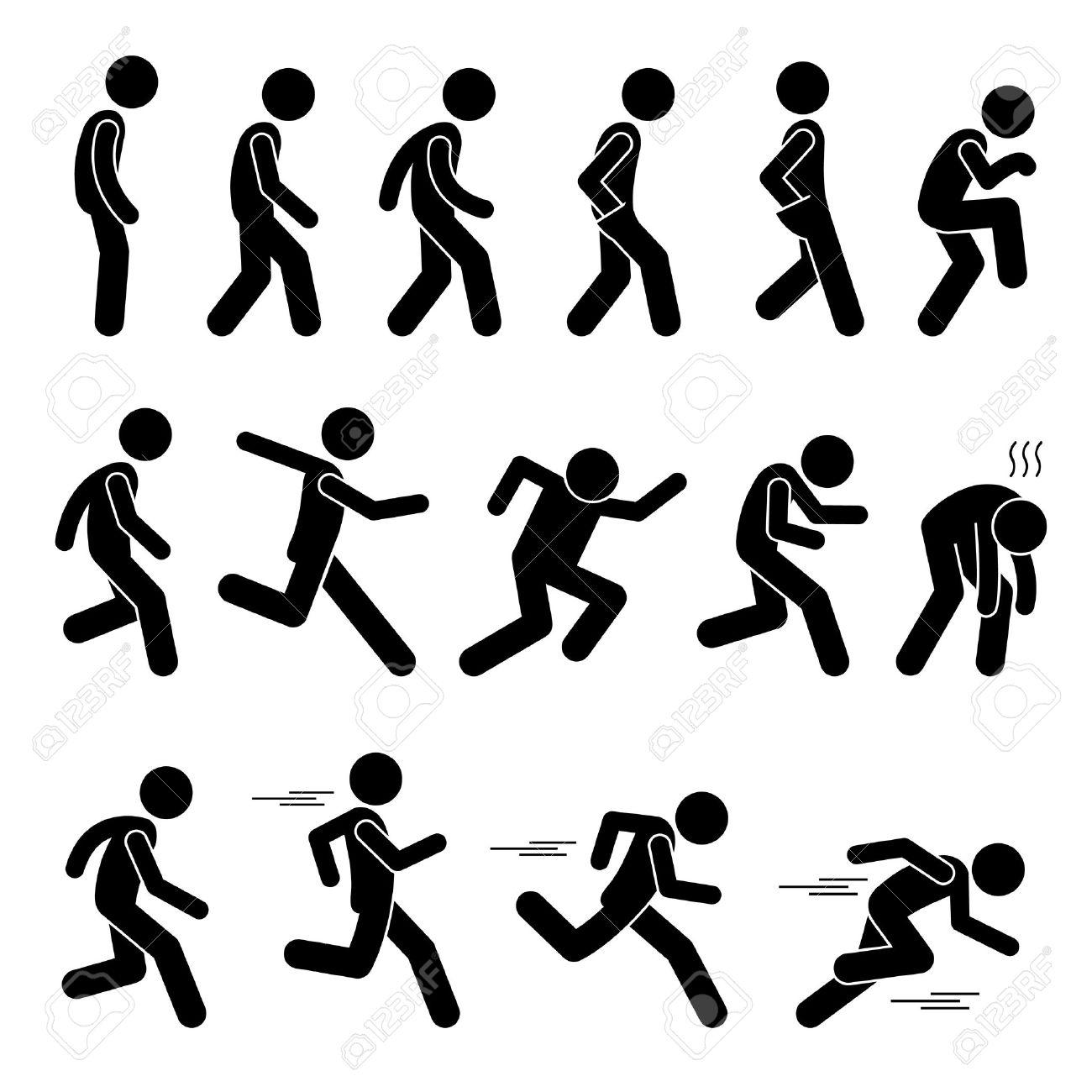 Various Human Man People Walking Running Runner Poses Postures Ways Stick Figure Stickman Pictogram Icons - 65458058