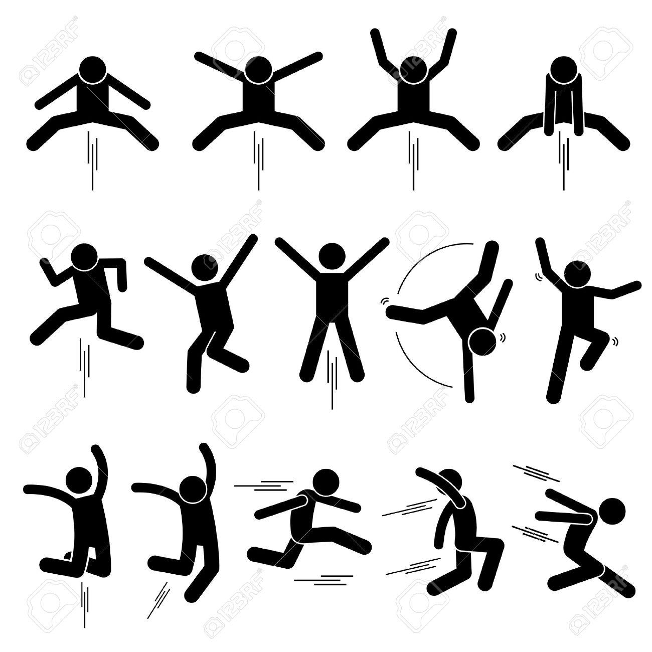 Various Jumper Human Man People Jumping Stick Figure Stickman Pictogram Icons - 65458059
