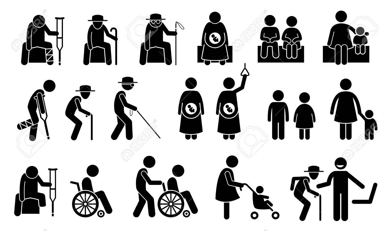 Priority seats for old man, senior citizen, blind man, pregnant woman, children, mother with kid or baby, adult with toddler, handicap, disabled and injured people. Privilege chair for people in need. - 69367219