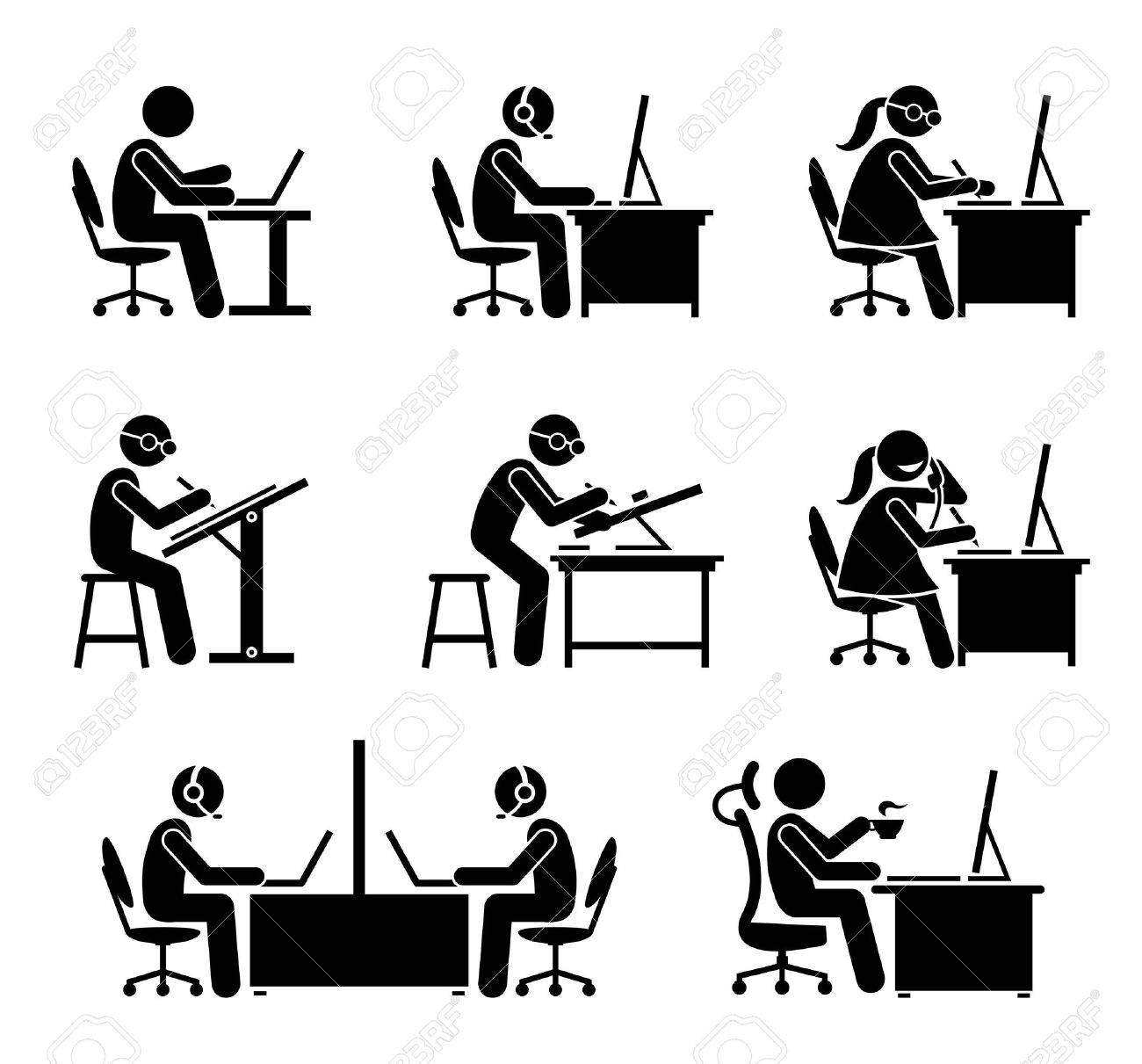 Employee working with computer and laptop at office. These jobs include programmer, software engineer, support, call center, customer service, secretary, helpdesk, receptionist, , and CEO. - 69593895