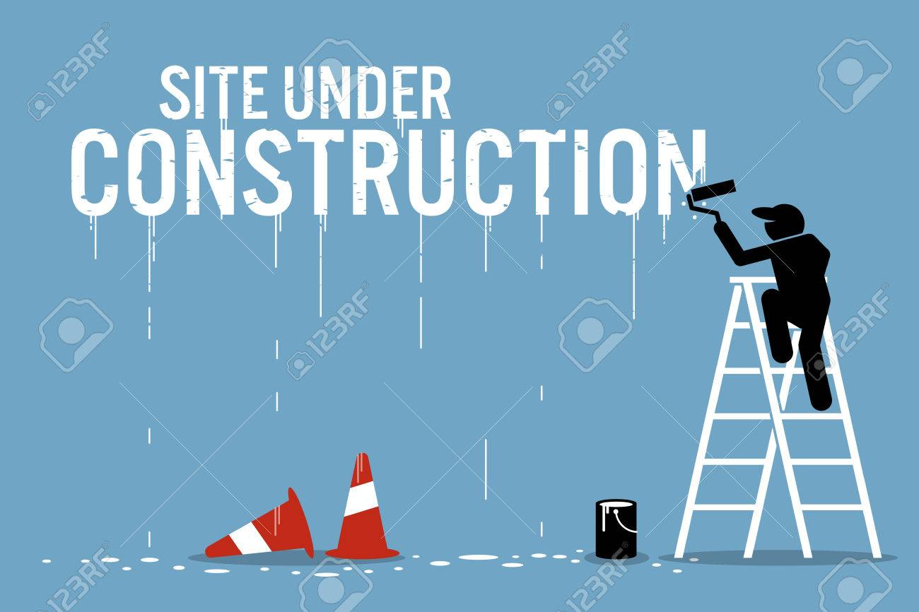 Painter painting the word site under construction on a wall. Vector artwork depicts work in progress. - 70919564