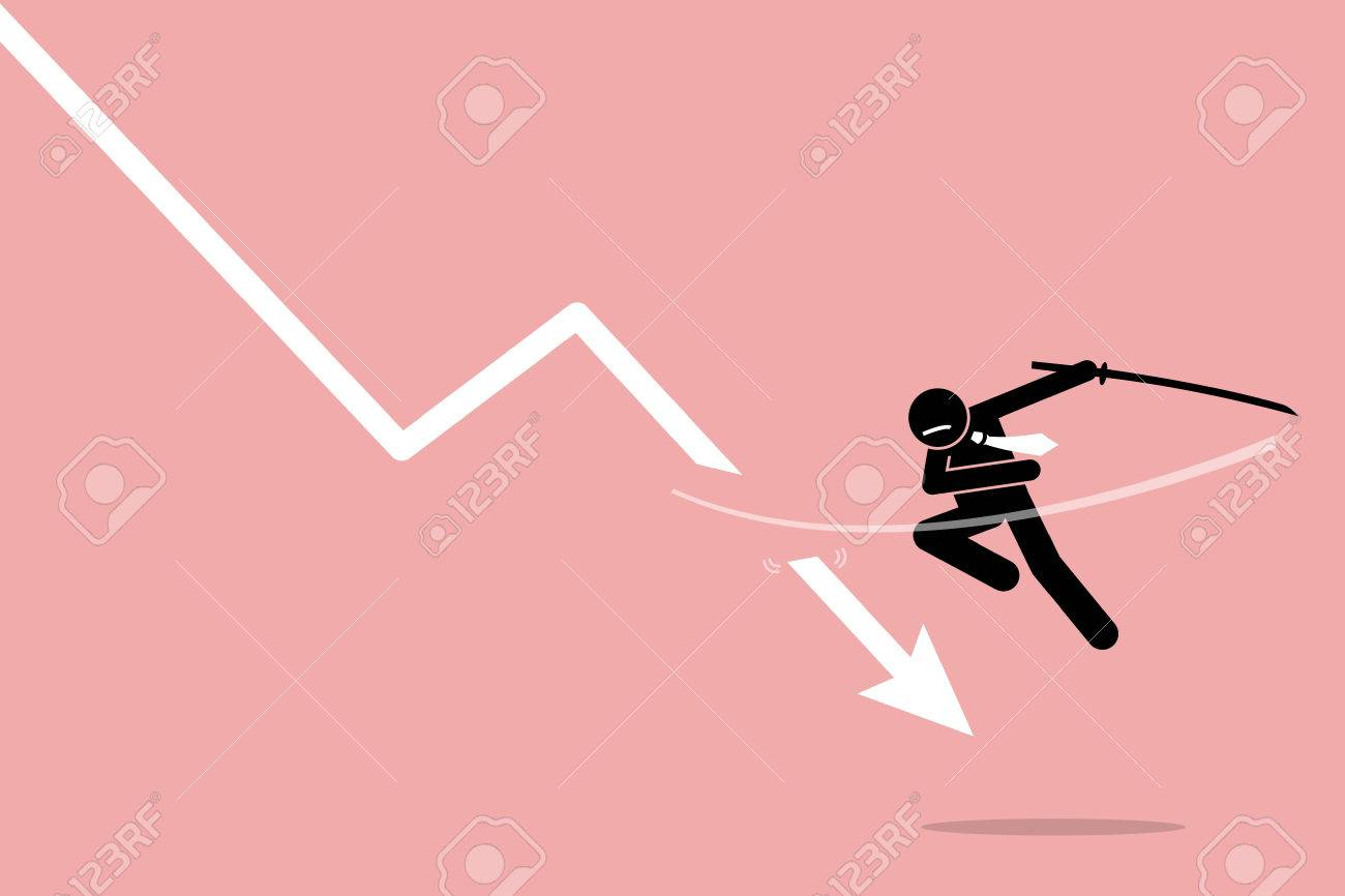 Cut loss. Vector artwork depicts stock market strategy by stopping losses. - 70983334