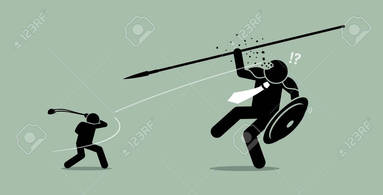 David versus Goliath. Vector artwork depicts underdog wins. - 70985363