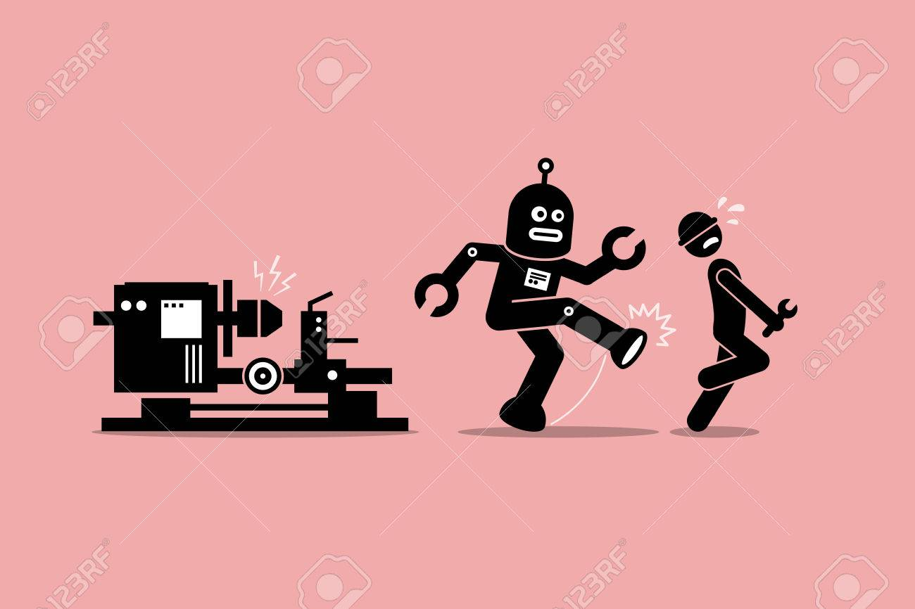 Robot mechanic kicks away a human technician worker from doing his job at factory. Vector artwork depicts automation, future concept, artificial intelligence, and robot replacing mankind. - 71714983