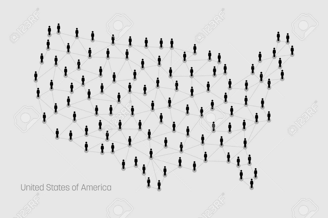 USA Map Map Depicts People Connecting Through A Large Internet - Large image map of us vector