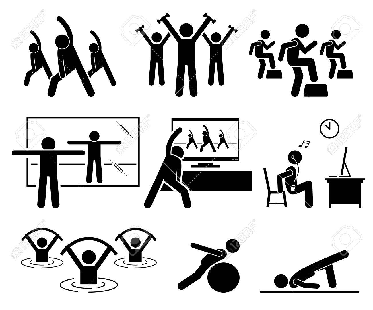 Aerobic class at gym room with instructor. Beginner learning aerobic at home by watching TV and Internet video. Aqua aerobic exercise at swimming pool. Illustrations in stick figures pictogram. - 73347949