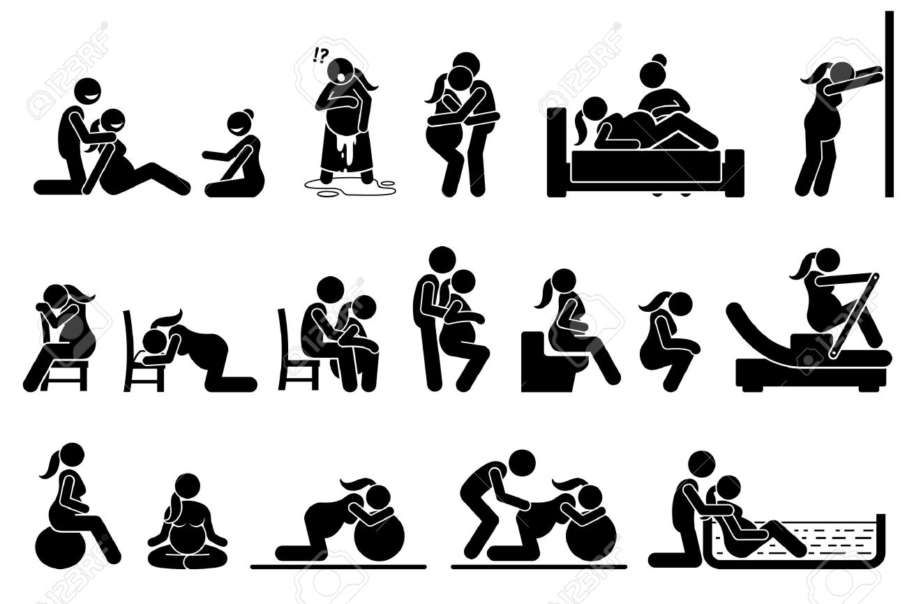 Childbirth labor positions and postures at home. Natural birthing class that include yoga, exercise, meditation, and water birth technique. Illustrations in stick figures pictogram. - 73347954