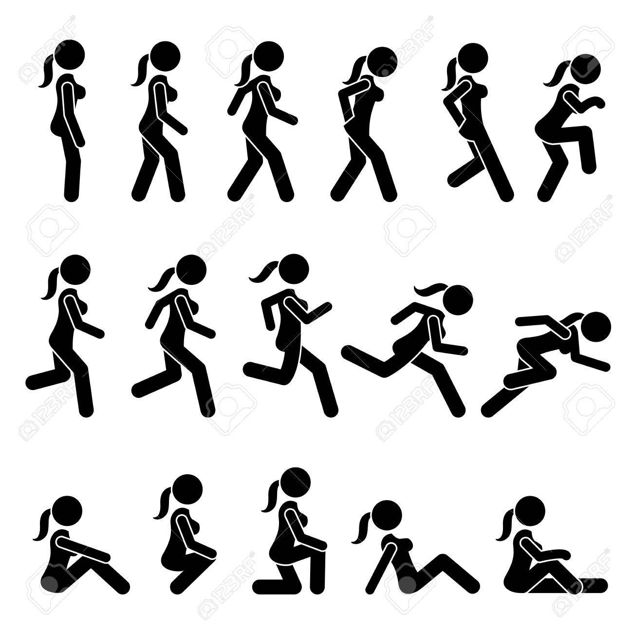 Basic Woman Walk and Run Actions and Movements. Artworks depict a female human walking and running in various motions, positions, and postures. - 76130709