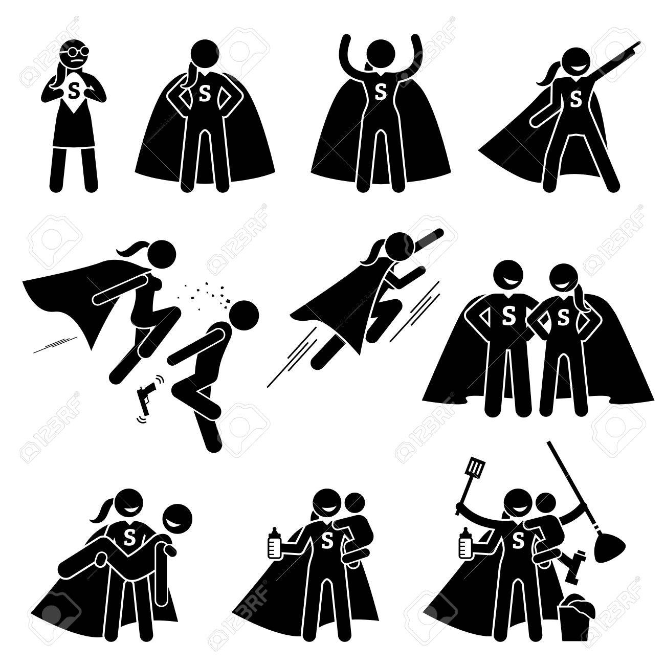 Superwoman Heroine Female Superhero. Cliparts depicts a superwoman in various poses and actions. She is also a busy supermom that can do housework and care for her family. - 78598685