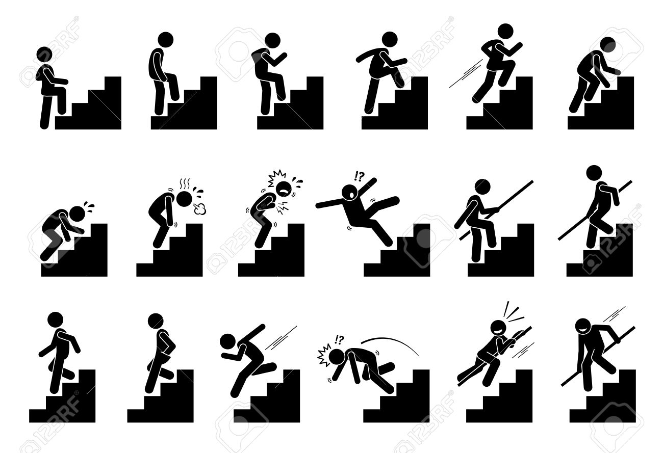 Man with Staircase or Stairs Pictogram. Cliparts depict various actions of a person with stairs. - 78847581