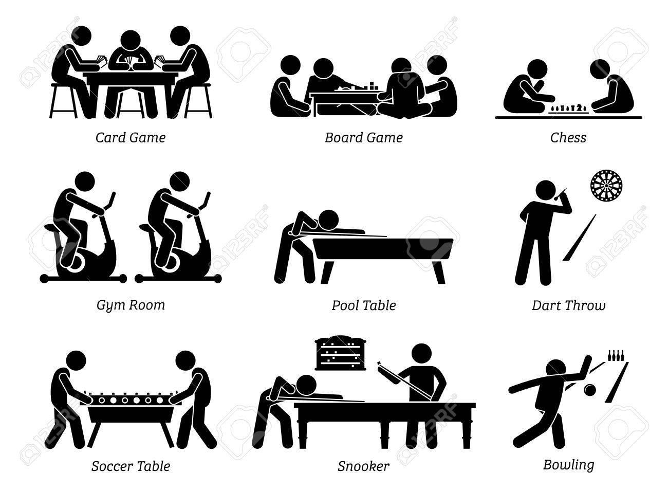 Indoor Club Games And Recreational Activities Stick Figures