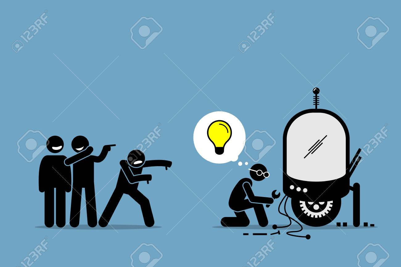 Critics Mocking and Making Fun of an Inventor from Creating and Inventing New Idea and Extraordinary Technology. Artwork illustrations depicts critique, hate, ignorant, inventor, and unsupportive. - 84623632