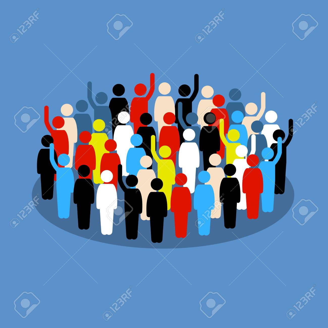 People in the crowd raising hand to show support and vote. Vector artwork depicts society, differences, democracy, and public voting. - 86108573