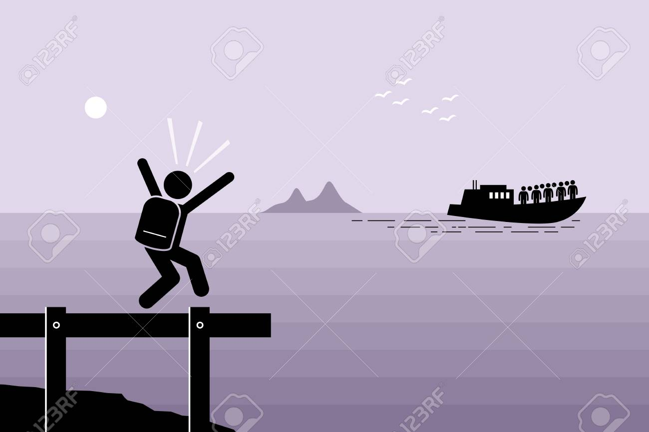Miss the Boat. Man failed to catch the boat which has already sailed away. Vector artwork depicts late, slow, laggard, and left behind. - 86108581